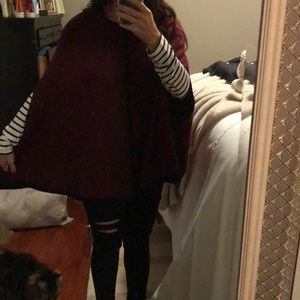 Burgundy and black sweater poncho S